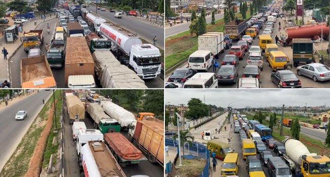 2 Trucks, Fuel Tanker crash on kara bridge